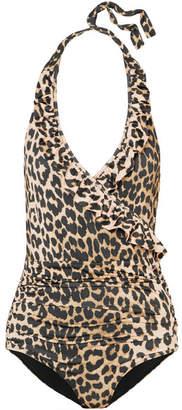 Ganni Avalon Ruffled Leopard-print Halterneck Swimsuit