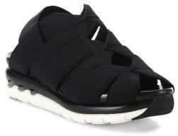 Salvatore Ferragamo Edeline Cutout Ribbon Slingback Flatform Sandals $495 thestylecure.com