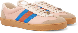 Gucci Jbg Webbing-Trimmed Leather And Suede Sneakers