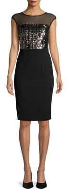 Vince Camuto Embellished Cap Sleeve Sheath Dress
