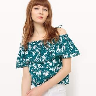 Suncoo Printed Frill Bardot T-Shirt