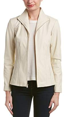 Cole Haan Women's Wing Collar Lether Jacket
