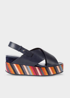 Paul Smith Women's Dark Navy 'Noe' Leather Sandals With Graphic Print Soles