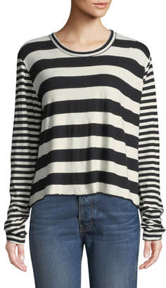 The Great Striped Long-Sleeve Cropped Tee
