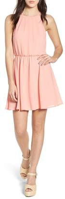 --- Blouson Chiffon Skater Dress