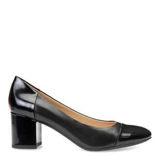Ladies Black Leather And Patent Symphony Mid Heels
