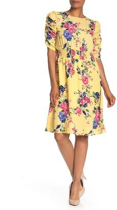 Bobeau Floral Print Ruched Sleeve Dress