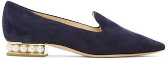 Nicholas Kirkwood Navy Suede Casati Pearl Loafers