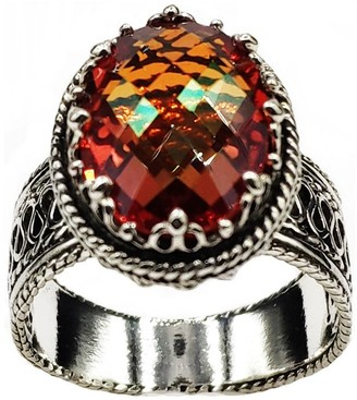 Artisan Crafted Sterling Oval Gemstone Filigree Ring