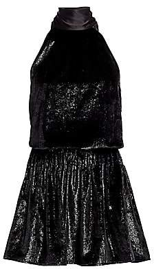 Ramy Brook Women's Lori Shimmer Velvet Halter Mini Dress
