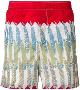 Valentino feather print swim shorts