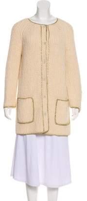 Raquel Allegra Shredded Button-Up Cardigan