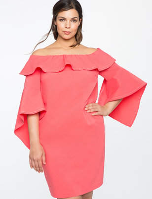 ELOQUII Flounce Sleeve Off the Shoulder Dress