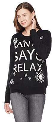 Ugly Fairisle Unisex Adult Jacquard Santa Says Relax Crewneck Christmas Sweater XXL Black/White