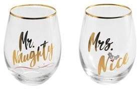 Mikasa Set of Two Celebrations Stemless Wine Glass