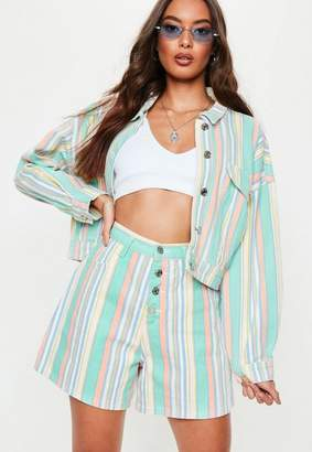 Missguided Green Pastel Stripe Co Ord Denim Button Shorts