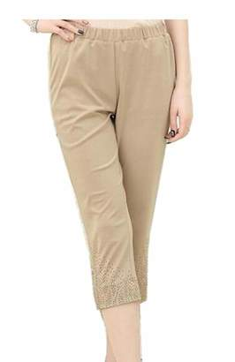 SELX Women Leggings Large Size Capri Elastic Casual Thin High Rise Pants US 2XL