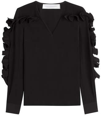 Victoria Beckham Victoria Heavy Silk Top with Structured Ruffle Sleeves