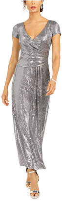 R & M Richards Sequined Draped Sheath Dress