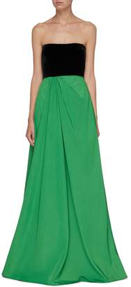 Alex Perry 'Dalton' colourblock velvet panel taffeta strapless gown