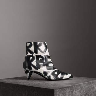 Burberry Graffiti Print Leather Ankle Boots , Size: 37
