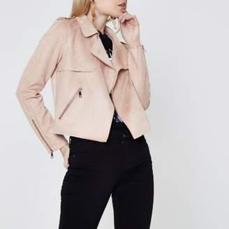River Island Womens Petite light pink faux suede biker jacket