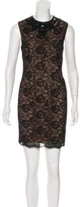 Haute Hippie Embellished Lace Mini Dress Black Embellished Lace Mini Dress