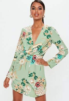 Missguided Green Floral Twist Front Dress