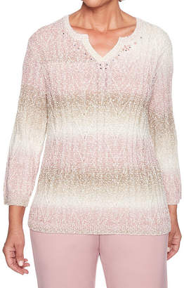 Alfred Dunner Home For The Holidays 3/4 Sleeve Split Crew Neck Pullover Sweater