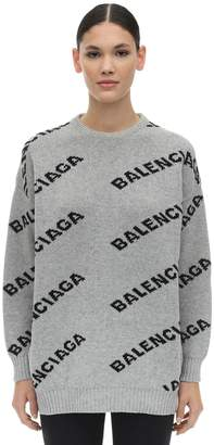 Balenciaga CREWNECK LOGO INTARSIA WOOL SWEATER