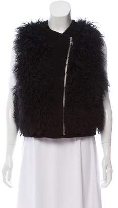Rebecca Taylor Shearling Wool Vest