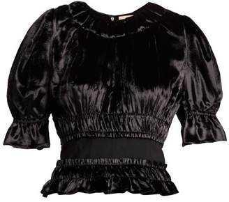 Brock Collection Tammy Gathered Velvet Blouse - Womens - Black