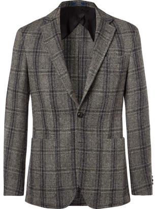 Polo Ralph Lauren Grey Morgan Slim-Fit Unstructured Suede-Trimmed Checked Wool Blazer
