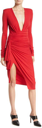 Alexandre Vauthier Plunging Long-Sleeve Ruched-Side Mini Dress