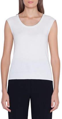 Akris Cap-Sleeve Scoop-Neck Pullover