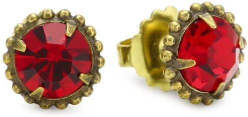 """Sorrelli Ruby Cocktail"""" Round Sparkling Red Cut Crystal Stud Earrings"""