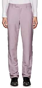 Calvin Klein Men's Striped Mohair-Wool Flat-Front Trousers - Mauve