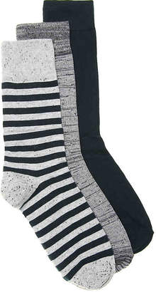 Aston Grey Marled Stripe Dress Socks - 3 Pack - Men's