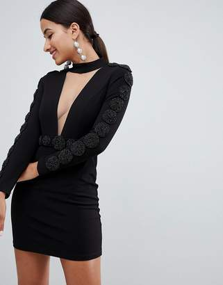 Forever Unique Embellished Mini Dress With Plunge