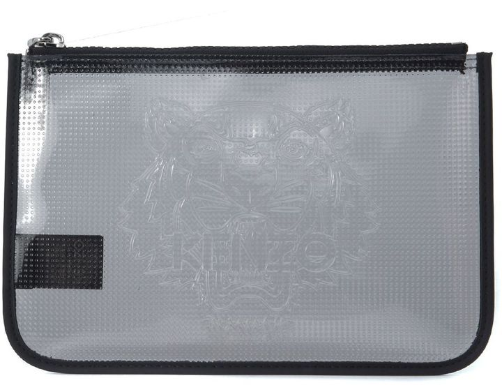 KenzoKenzo Grey Anthracite Clutch Bag In Transparent Rubber