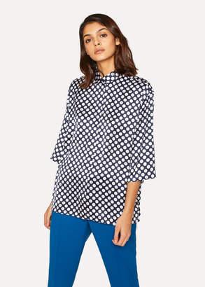 Paul Smith Women's Navy Polka Dot Three-Quarter Sleeve Shirt