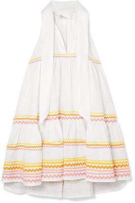Lisa Marie Fernandez Ava Lily Tiered Linen Mini Dress - White