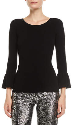 Michael Kors Crewneck Ruffle-Cuff Stretch-Viscose Ribbed Top