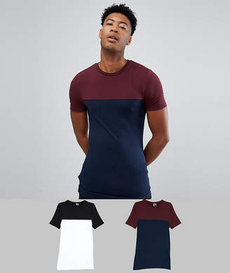 Asos DESIGN Tall muscle fit t-shirt with contrast yoke 2 pack SAVE