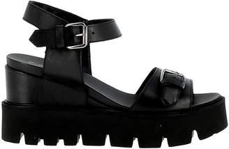 Elena Iachi Black Leather Sandals