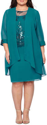 MAYA BROOKE Maya Brooke 3/4 Sleeve Tiered Skirt Jacket Dress - Plus