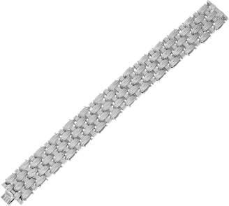 "Italian Silver Sterling 7-1/4"" Textured Woven Bracelet, 55.1g"
