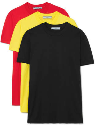 Prada Set Of Three Cotton-jersey T-shirts - Black
