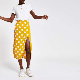 a3aa426a27 River Island Womens Yellow spot midi skirt