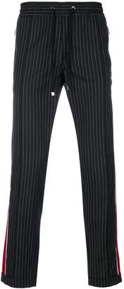Dolce & Gabbana pinstripe jogging trousers with contrasting side panels
